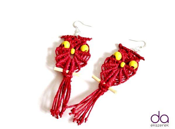 Makramé bagoly fülbevaló – piros
