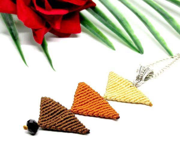 Tripla háromszög nyaklánc – barna