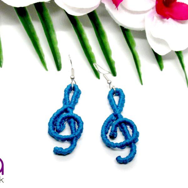 Violinkulcs fülbevaló – kék