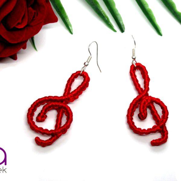 Violinkulcs fülbevaló – piros