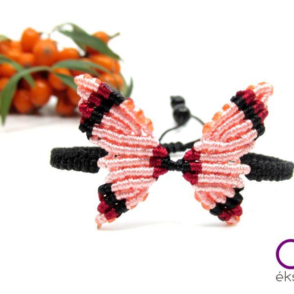Makramé pillangó karkötő – mályva