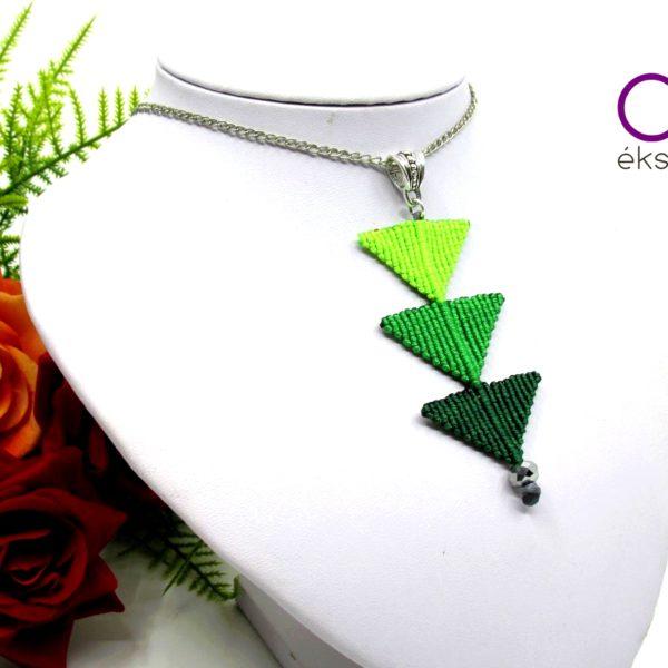 Tripla háromszög nyaklánc – zöld