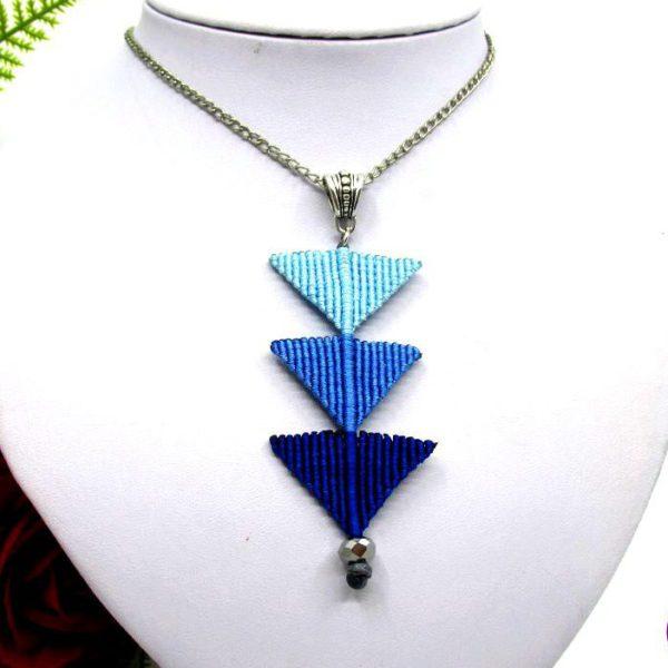 Tripla háromszög nyaklánc – kék