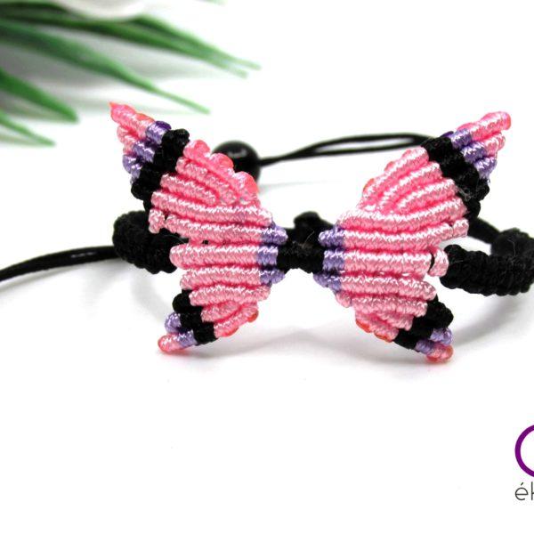 Makramé pillangó karkötő – rózsaszín-lila